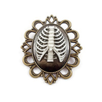 Ribcage cameo brooch, Bronze ribcage brooch, black and white cameo, Gothic brooch, Human ribcage, alternative, statement brooch, UK seller