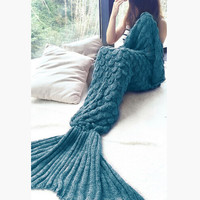 Mint Blue Knit Mermaid Party to Be Adored Blanket for Sofa Bed Home Gift