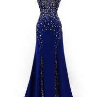 KC131533 Blue Jeweled Lace Evening Gown by Kari Chang Couture