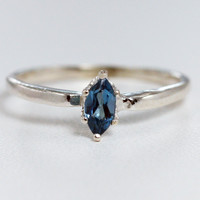 London Blue Topaz Marquis Ring Sterling Silver, December Birthstone Ring, Blue Topaz Marquis Ring, Sterling Marquis Ring
