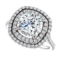 Cubic Zirconia Engagement Ring-*Clearance* The Alexandra (2.50 Carat Cushion Cut Double Halo Center with U-Pave and Pavé Band in Platinum)