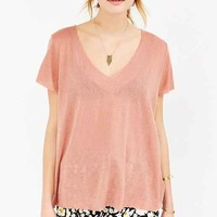 Project Social T Textured-Knit V-Neck Tee