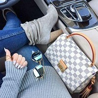 LV Tide brand female classic old flower checkerboard messenger bag shoulder bag