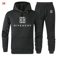 Givenchy Autumn And Winter New Fashion Letter Print Women Men Hooded Long Sleeve Sweater And Pants Two Piece Suit 3#
