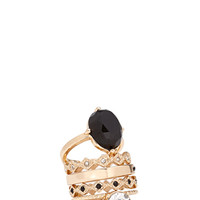 FOREVER 21 Faux Gemstone Ring Set Black/Gold