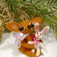 Needle Felted Chihuahua with bunny, Easter Bunny, Miniatures, Doll gifts, Soft Sculpture dogs, felted dog