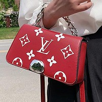 Louis Vuitton LV full printed letters stitching color ladies shopping handbags shoulder bag messenger bag Red