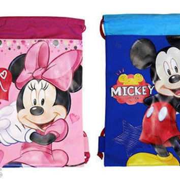 MICKEY MOUSE BLUE MINNIE MOUSE PINK DRAWSTRING BAG BACKPACK TRAVEL STRING POUCH