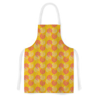 "Apple Kaur Designs ""Wild Summer Dandelions"" Gold Circles Artistic Apron"