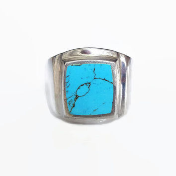Sterling Turquoise Ring, Mens Ring, Cigar Band, Native American Style, Stone Inlay, Biker Ring, Vintage Ring, Vintage Jewelry, Size 13