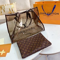 Louis Vuitton LV New Fashion Lady Printed Letters Transparent Jelly Pack Two Piece Set Coffee