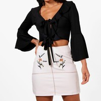 Harlow Embroidered Front A Line Skirt | Boohoo