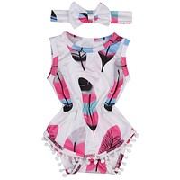 born Baby Girl Tassel Romper Jumpsuit +Headband Infant Clothes Outfit