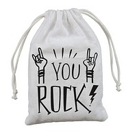 You Rock Drawstring Mini Gift Bag in White Cotton with Black Lettering