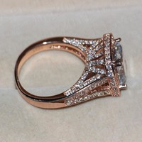 choucong Luxury Rose Gold cushion cut 10ct Stone 5A Zircon Cz 925 Sterling Silver Engagement Wedding Band Ring for women