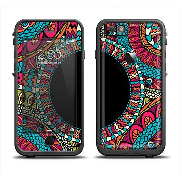 The Vector Colored Aztec Pattern WIth Black Connect Point Apple iPhone 6 LifeProof Fre Case Skin Set