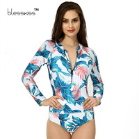 2017 One Piece Swimsuit Long Sleeve Swimwear Women Bathing Suit Retro Swimsuit Print Floral One-piece Swim Suits Surfing Wear