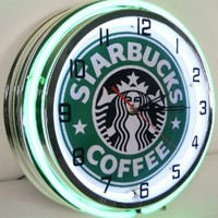 "STARBUCKS COFFEE 18"" NEON LIGHT WALL CLOCK ESPRESSO CAFE SHOP ADVERTISING SIGN"
