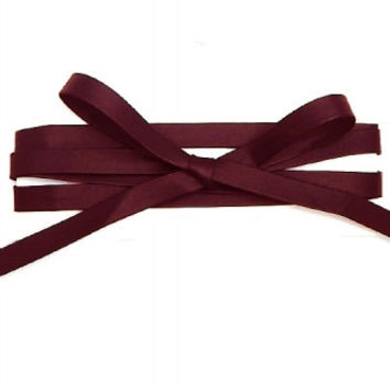 THICK LEATHER LONG WRAP AROUND CHOKER NECKLACE - BLOOD