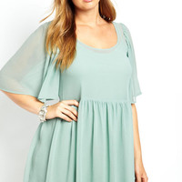 Plus Size  Mint  Butterfly Sleeves Empire Ruffles Dress