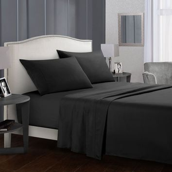 Bed sheet Set Brief Bed Linens Flat Sheet+Fitted Sheet+Pillowcase Queen/ King Size black Soft comfortable white Bed set