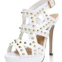 White Leatherette Gold Studded Spike Strappy Ankle Strap Platform Heels Earth