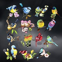 Birds Patch Embroidery Iron On Patches For Clothes Dresses DIY Accessory