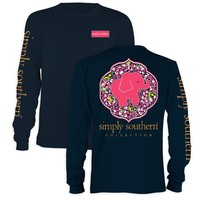 Simply Southern Pink Elephant with Daisy Background Long Sleeve T-shirt Color Navy (Medium)
