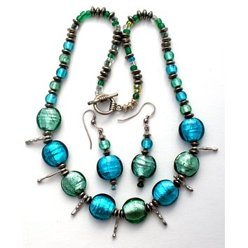Blue & Green Foiled Glass Bead Necklace Set