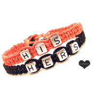 Coral Black His and Hers Couples Bracelets Set of 2 Personalized Jewelry