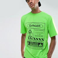 Granted T-Shirt In Green With Danger Print at asos.com