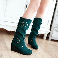 Round Toe Buckle Belt Platform Wedges Boots 5499