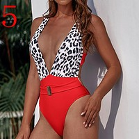 Sexy Hollow Out Bikini Leopard Print Bandage Swimwear Women Brazilian Push Up Swimsuit High Waist Bodysuit One-Piece