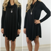 Crown Heights Black Cowl Neck Long Sleeve Curved Hem Dress