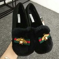 Bee Trending Ladies Leisure Autumn Winter Warm Rabbit Flat Villi Stylish Doug Shoes Single Shoes Black