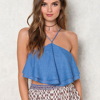 Dusty Blue Chambray Layered Cross Strap Crop Top