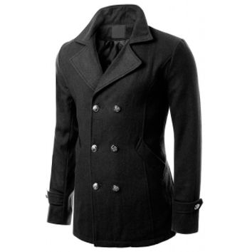 Doublju Mens Double Breasted Design Slim Fit Coat CMOCO023