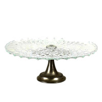 Cake Stand, Cut Glass on Silver Plate Pedestal Base, England