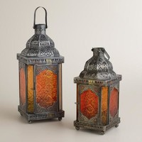 Warm Sabita Embossed Glass Tabletop Lanterns - World Market