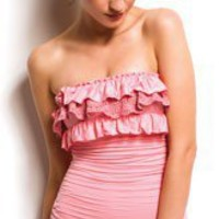 Juicy Couture Lacy Layers Bandeau Adjustable One Piece Swimsuit Y81900 in Burnished Rose