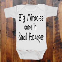 Baby Clothes Big Miracles come in Small Packages by BayBeeThreadz