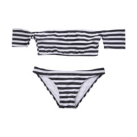 Striped Off-Shoulder Bikini
