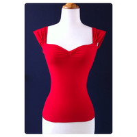 The Cherrybomb Blouse, Red Rockabilly Capped Sleeve Top, Sexy Off The Shoulder PIN UP Top, Misses Sizes xs, s, m, l, xl, xxl, 3x Plus
