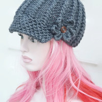 Grey Newsboy Baker Boy Knitted Chunky Hat Womens Winter Peaked Hat