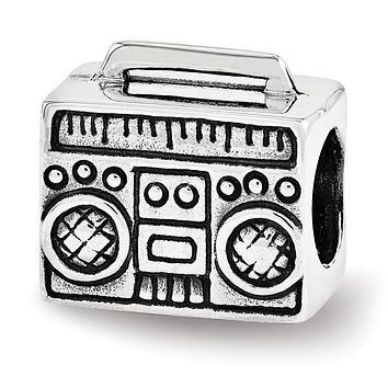 Boombox Charm in Antiqued Sterling Silver for 3mm Bead Bracelets