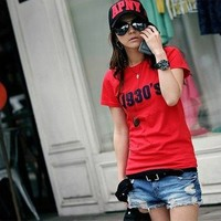 Stylish Letters Pattern Short Sleeves T-Shirt Red from Hester