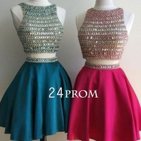 Custom made round neck sequin rhinestone two pieces short prom dress, cute homecoming dress - 24prom