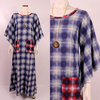 Vintage 70s - Blue & Red Plaid Flannel - Bell Angel Sleeve - Long Maxi Dress - Nightie Nightgown - Hippie Boho