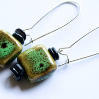 Green and Black Stone Earrings
