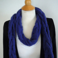 Cable Knit Scarf- Cobalt